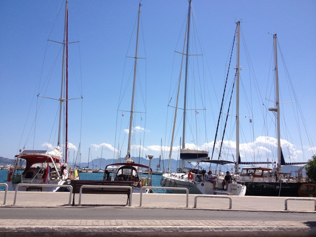 Sailboats Aegina Harbour
