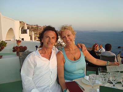 Athanasius and me in Santorini