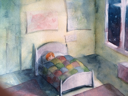 """Illustration by Alexandra Stefanel from the book """"Yesterday at Justin's"""" Copyright Marilyn Harding 2015"""